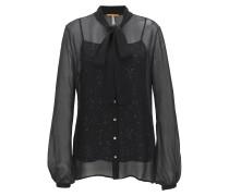 Transparente Regular-Fit Bluse aus Material-Mix mit Top