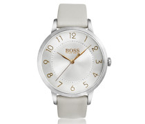 Armbanduhr aus poliertem Edelstahl mit drei Zeigern