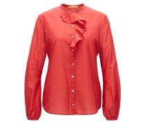 Regular-Fit Bluse aus Baumwoll-Mix mit Seide mit Rüschenbesatz