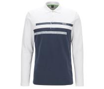 Slim-Fit Longsleeve Poloshirt aus elastischem Baumwoll-Piqué