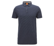 Gemustertes Regular-Fit Poloshirt aus Baumwoll-Piqué