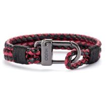 Geflochtenes Armband aus italienischem Leder mit Karabinerverschluss