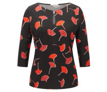Regular-Fit Top aus elastischem Krepp mit Gingko-Print