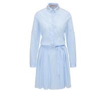 Gestreiftes Hemd-Kleid aus elastischem Baumwoll-Mix mit Blumenstickerei