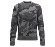 Regular-Fit-Strickpullover aus Material-Mix mit Camouflage-Muster