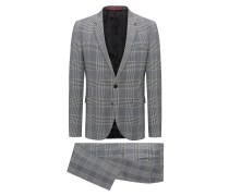 Karierter Extra Slim-Fit Anzug aus elastischer Schurwolle