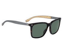 Sonnenbrille aus Acetat mit Aluminiumbügeln und Korkbesatz