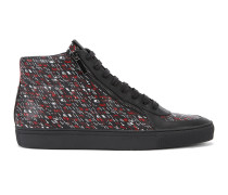 Hightop Sneakers aus Leder mit Grafik-Print
