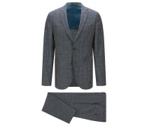 Slim-Fit Anzug aus Schurwoll-Mix mit Baumwolle und Leinen