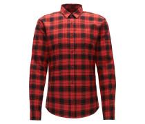 Kariertes Slim-Fit Hemd aus strukturierter Oxford-Baumwolle