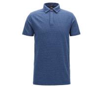 Slim-Fit Poloshirt aus Baumwoll-Jacquard mit Hahnentritt-Struktur