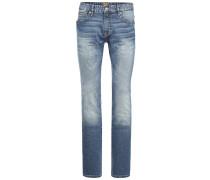 Regular-Fit Jeans aus indigofarbenem Used-Denim