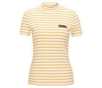 Gestreiftes Slim-Fit T-Shirt aus gerippter Stretch-Baumwolle