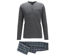Regular-Fit Pyjama aus gebürsteter Baumwolle