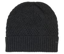 Mütze aus Material-Mix mit Zopfmuster