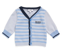 Baby-Strickjacke aus Baumwolle im Streifen-Dessin