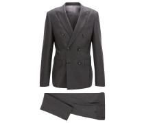 Zweireihiger Slim-Fit Anzug aus meliertem Schurwoll-Mix mit Kaschmir