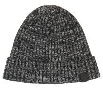 Mouliné-Mütze aus geripptem Baumwoll-Mix mit Schurwolle