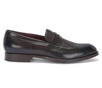 Tailored Loafer aus Leder mit Partien in Flecht-Struktur