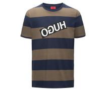Gestreiftes Relaxed-Fit T-Shirt aus Pima-Baumwolle mit spiegelverkehrtem Logo