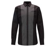 Extra Slim-Fit Smoking-Hemd aus Baumwolle mit gemusterter Vorderseite