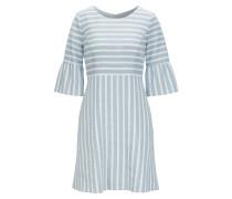 Tailliertes Kleid aus gestreiftem Leinen-Mix