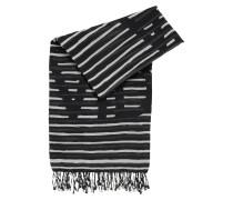Gestreifter Schal aus Baumwoll-Mix mit Modal mit Slogan