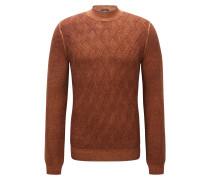 Slim-Fit Pullover aus Schurwolle mit Aran-Muster