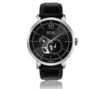 Uhr aus Edelstahl mit Totalisatoren, sichtbarem Uhrwerk und Armband aus geprägtem Leder