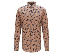 Slim-Fit Hemd aus Baumwoll-Popeline mit abstraktem Print