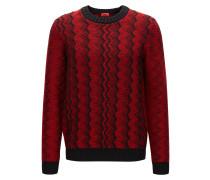 Regular-Fit Pullover aus Schurwolle mit Zickzack-Muster