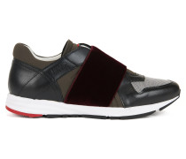 Sneakers aus Leder mit elastischen Riemen