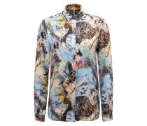 Bedruckte Regular-Fit Bluse aus Material-Mix mit Seide