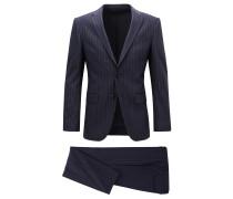 Slim-Fit Anzug aus elastischem Baumwoll-Mix mit Schurwolle mit Nadelstreifen