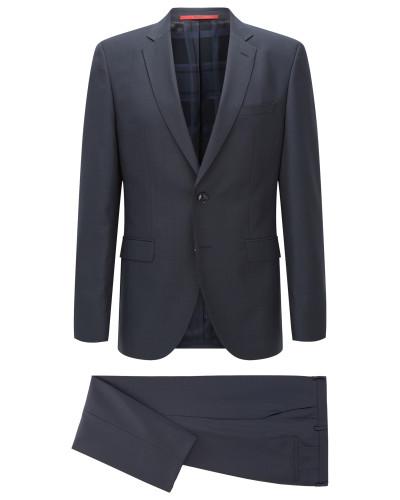 Melierter Regular-Fit Anzug aus einem strukturierten Schurwoll-Mix