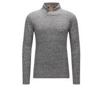 Slim-Fit Pullover aus doppelseitigem Jersey mit geknöpftem Kragen