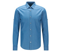 Slim-Fit Hemd aus Baumwoll-Twill