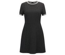 Fein gemustertes Regular-Fit Kleid aus elastischem Material-Mix