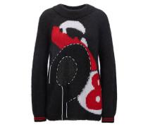 Intarsien-Pullover aus Mohair-Mix mit Wolle, Baumwolle und Seide