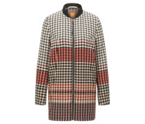 Regular-Fit Mantel aus Jacquard mit Hahnentritt-Muster