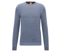 Zweifarbiger Pullover aus strukturiertem Baumwoll-Mix mit Wolle