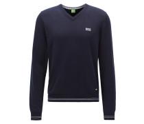 Regular-Fit Pullover aus Baumwoll-Mix mit V-Ausschnitt