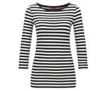 Slim-Fit T-Shirt aus Jersey mit Streifen und U-Boot-Ausschnitt