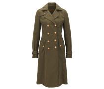 Zweireihiger Slim-Fit Mantel aus strukturierter Baumwolle
