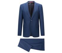 Länger geschnittener Regular-Fit Anzug aus Schurwoll-Mix