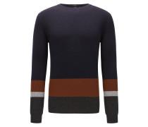 Slim-Fit Pullover aus gerippter Schurwolle im Colour Block Design