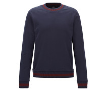 Slim-Fit Sweatshirt aus French Terry mit zweifarbigen Strick-Details