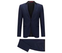 Slim-Fit Anzug aus feiner Schurwolle mit Besätzen aus Seiden