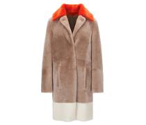 Regular-Fit Mantel aus Lammfell im Colour Block Design