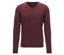 Regular-Fit Pullover aus Schurwolle mit V-Ausschnitt